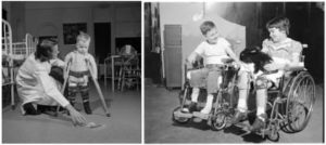Kids in wheelchairs due to the polio disease